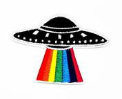 MNC Patch UFO Rainbow Riders Patch Iron On Sew On Cartoon Logo iron on sew on patch Sign Badge Symbol Patch Iron on Applique Embroidered Jacket T shirt Costume