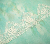 1 Yard Antique Wedding Lace Trim Floral Embroidered Veiling Trimming Bridal Sewing Lace Edge Dress Fringe Hem