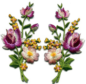 5.7cm x 11cm .Magenta pink yellow roses pair flowers floral bouquet embroidered appliques iron-on patche