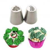 Cake Mould,Hunzed 2pcs Christmas Steel Cake Lcing Piping Cake Mould Decorating Nozzles Tips Baking Tool