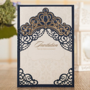 Wishmade Laser Cut Wedding Invitations Cards Navy Blue Square Invitations with Bronzing Crown Sleeve pocket for Engagement Baby Bridal Shower Birthday Quinceanera