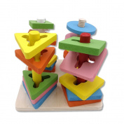 Wooden Shape Sorter Cube, Colourful Geometric Block Sorting Colour Recognition Learning and Educational Colour Matching Stack Puzzle Toy For Preschool Toddlers Recognition