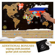 Whole Wide World Scratch Map - Personalised Scratch Off Map for Travel, Education and Fun - Includes Guitar Pick Scratcher, Wiping Cloth & Booklet