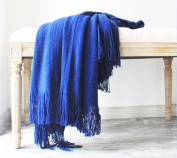 LAGHCAT Solid Blanket Cross Woven Couch Throw Knitted Blankets with Decorative Fringe Lightweight for Bed or Sofa Decorative,130cm x 170cm ,Royal Blue