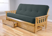 Linen Aqua Dallas Futon Frame in Butternut with Mattress and Drawers