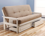 Suede Peat Madison Futon in Antique White with Mattress and Drawers
