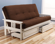 Suede Chocolate Madison Futon in Antique White with Mattress and Drawers