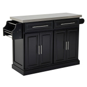 HomCom Modern Rolling Kitchen Island Storage Cart w/ Stainless Steel Top - Black