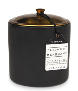 Hygge Collection Soy Wax Candle In black Ceramic Pot with Copper Lid, 440ml, Bergamot & Mahogany