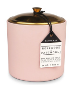 Hygge Collection Soy Wax Candle in Blush Ceramic Pot with Copper Lid, 440ml, Rosewood & Patchouli