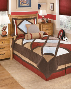 Ashley Furniture Signature Design - Academy Bedding Set - Twin - Contains 2 Accent Pillows, 1 Sham & Comforter - Multicolor