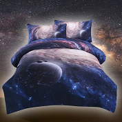 Sleepwish Galaxy Bedding Sets 3D Printed Space Quilt Set Kids Duvet Cover with 2 Matching Pillow Covers - Full