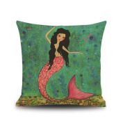 Mermaid Pattern Pillow Case My Little Princess Throw Pillow Cover Decorative