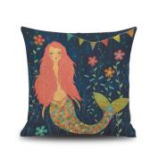 Mermaid Flowers Cotton Linen Square Throw Pillow Cover 46cm x 46cm