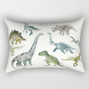 Many Cute Dinosaurs Rectangle Throw Pillow Covers Decorative 12 x 20 Throw Pillow Case for Kids Rooms Decorations