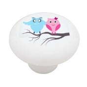 Retro Owl Couple on Branch High Gloss Ceramic Drawer Knob