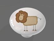 Funny Lion High Gloss Ceramic Drawer Knob