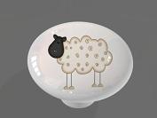 Funny Sheep High Gloss Ceramic Drawer Knob