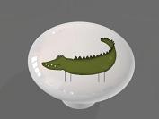 Funny Alligator High Gloss Ceramic Drawer Knob