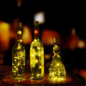 Transer Warm White Wine Bottle Cork Lights - 2m 20 LED Copper Wire Lights String Starry LED Lights for Bottle DIY, Party, Decor, Christmas, Halloween, Wedding or Mood Lights