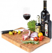 Thick End Grain Bamboo Wood Cutting Board/Kitchen Butcher Block - Heavy Duty Chopping Board With Juice Grooves and Handles. Best for Carving Meat, Fish and Chicken | Perfect House Warming Gift