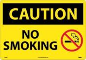 "NMC C564AC OSHA Sign, Legend ""CAUTION - NO SMOKING"" with Graphic, 50cm Length x 36cm Height, Aluminium, Black on Yellow"
