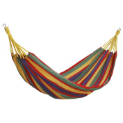 VonHaus Outdoor Portable Cotton Single Brazilian Hammock with Travel Bag - Ideal for Backyard, Porch, Camping, Outdoor and Indoor Use