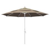 California Umbrella 3.4m Round Aluminium Market Umbrella, Crank Lift, Collar Tilt, White Pole, Sunbrella Taupe