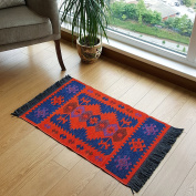 Modern Bohemian Style Small Area Rug, 0.6m X 0.9m, Washable, Natural Dye Colours, Two-sided (reversable), Perfect for Kitchen, Hallway, Bathroom, Bedroom, Corridor, Living Room