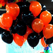 Mromick 50Pcs Orange And 50Pcs Black Latex Balloons Halloween Birthday Party Room Ornament Decor