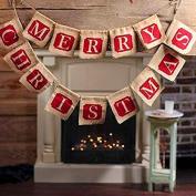Binmer(TM) Hessian Burlap Merry Christmas Bunting Sign Rustic Wedding Party Banner Flag Indoor Outdoor Home Decor Gift