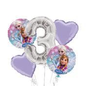 Frozen Balloon Bouquet 3rd Birthday 5 pcs - Party Supplies