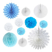 Blue White Tissue Paper Fans Pom Pom Flowers for Home Birthday Wedding Party Supplies Christmas Decoration SUNBEAUTY,11 Pieces