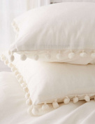 Pom-Fringe Sham Set Cotton Pillow Covers,48cm x 29.2.5cm ,Set of 2