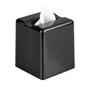 InterDesign Facial Tissue Box Cover/Holder for Bathroom Vanity Countertops Boutique, Black