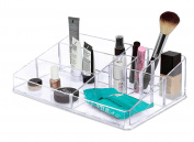 Internet's Best Acrylic Cosmetic Makeup Organiser | Large Display with Multi Compartments for Lipstick, Bottles, Brushes & Jewellery | Clear Display Rack Holder