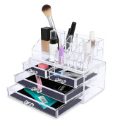 Internet's Best Acrylic Cosmetic Makeup Organiser | 2 Piece Box with Multi Compartments for Organisation & Storage | Jewellery Display & Drawers | Clear Display Rack Holder