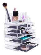 Internet's Best Acrylic Cosmetic Makeup Organiser | 3 Piece Display with Multi Drawers & Compartments for Lipstick, Bottles & Brushes | Jewellery Display & Drawers | Clear Display Rack Holder