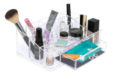 Internet's Best Acrylic Cosmetic Makeup Organiser | Medium Display with Multi Compartments for Lipstick, Bottles & Brushes | Jewellery Display & Drawers | Clear Display Rack Holder