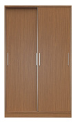 Manhattan Comfort Chelsea Full Wardrobe 1.0 2 Sectional Stand Alone Wardrobe Cabinet with Sliding Doors, 8 Adjustable Shelves, 3 Drawers, and 2 Hanging Rods, 140cm Wide, Maple Cream