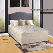 Continental Sleep 25cm Pillowtop Fully Assembled Othopedic Full XL Mattress & Box Spring with Bed Frame,Deluxe Collection