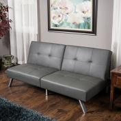 Heston Grey Vinyl Click Clack Futon Sofa Bed