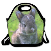 SHZFS Luc Lunch Bags Grey Bunny Lunch Organiser Bag Custom Food Handbag Printing Lunch Holder Tote Bag For School, Office