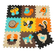HAN-MM Play Mat Non Toxic Crawl Mat with Softer Thicker EVA Foam for Fall Protection 9 Tiles 9 Inserts Patent Pending for Tummy Time and Crawling Style 29 Animal 1