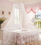 Home Cal Mosquito Bed Netting White,Round Top 3 layer Mosquito Net Bed Canopy Insect Net Protection with Hanging Kit