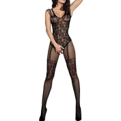 MuLuo Women Perspective Open Crotch Body Stocking Hollow Out Mesh Erotic Underwear