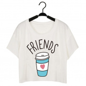 MuLuo Women T-shirt Cute T Shirt Donut And Coffee Duo Print Funny Best Friends Tees Couple Tops
