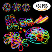 Glowsticks Glow Sticks Party Favours Pack. 200 20cm Glow Sticks Bracelet Mixed Colours + Connectors for Glow Necklace, Flowers, Balls, Eye Glasses and Glow Rings, 456 PCS of Glow in The Dark