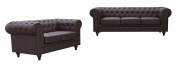 US Pride Furniture S5069-2PC Bonded Leather Chesterfield Sofa Set, Brown