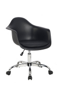 Hodedah Mid Century Modern, Moulded Bucket Chair with Adjustable Height & Wheels, Black